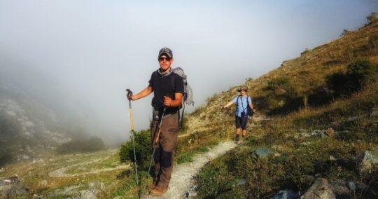 Two people walking in Sharri Mountains - Scardus Trail