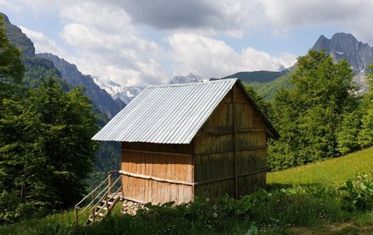 mountain huts in peaks of the balkans trail